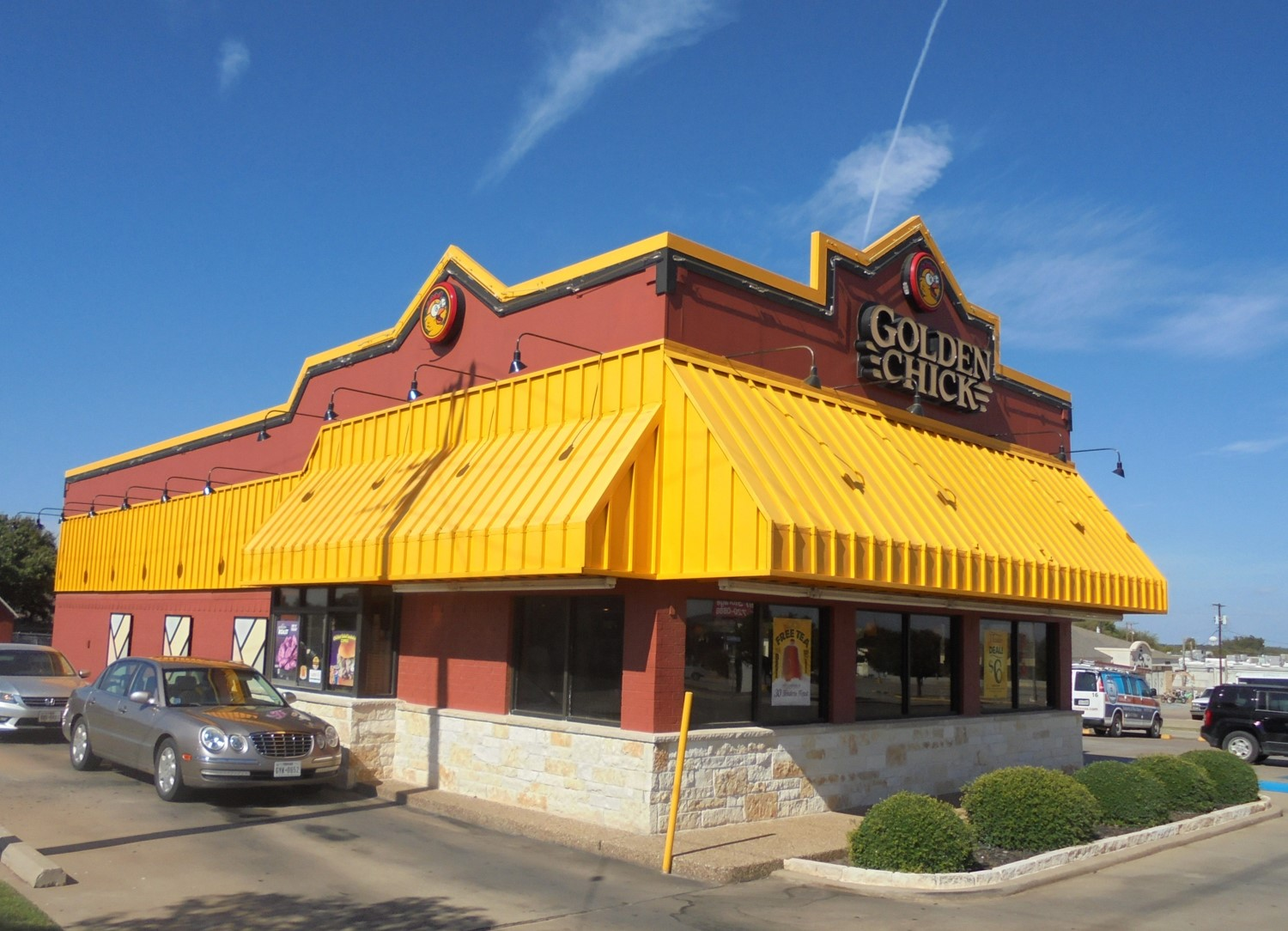 Golden Chick storefront.  Your local Golden Chick fast food restaurant in Wichita Falls, Texas