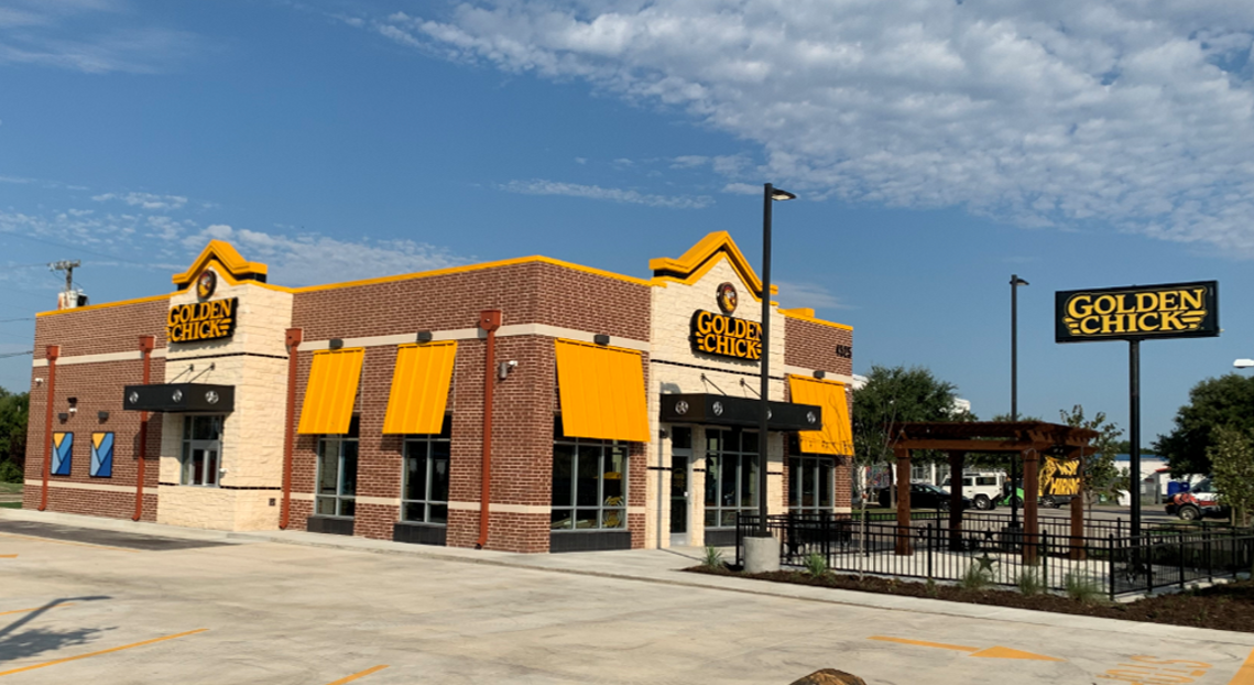 Golden Chick storefront.  Your local Golden Chick fast food restaurant in Mesquite, Texas